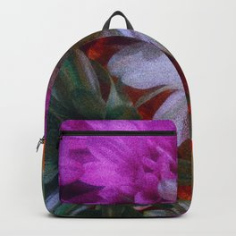 Grainy Green Flowers with Blue Tint Backpack