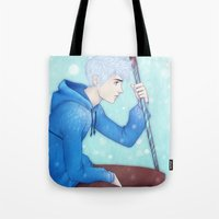 jack frost Tote Bags featuring Jack Frost by ribkaDory