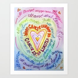 Rainbow Heart Colorful What Cancer Cannot Do Poem Art Print