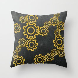 Cool golden steampunk gears on a gray background Throw Pillow