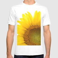 Sunflower Detail - Yellow MEDIUM Mens Fitted Tee White