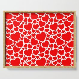 Red Hearts Pattern Serving Tray