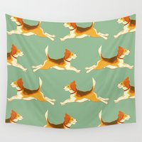 beagle Wall Tapestries featuring Beagle Pattern by Celia Krampien