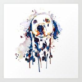 Dalmatian Head Watercolor Portrait Art Print
