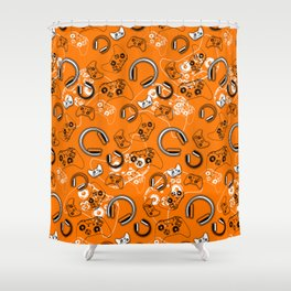 Gamers-Orange Shower Curtain