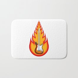 Guitar With Fire Graphics Bath Mat