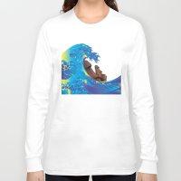 hokusai Long Sleeve T-shirts featuring Hokusai Rainbow & Moai by FACTORIE