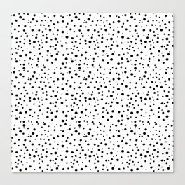 PolkaDots-Black on White Canvas Print