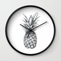 pineapple Wall Clocks featuring Pineapple by Sibling & Co.