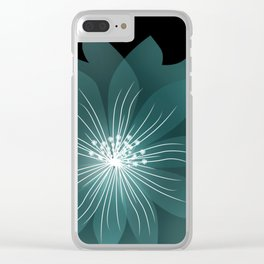 Blue flower on a black background . Clear iPhone Case