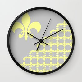 Offset Yellow Fleur Wall Clock