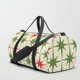 Christmas Starbursts - Atomic Age Xmas Holiday Pattern in Red and Retro Green on Cream Duffle Bag