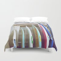 surfboard Duvet Covers featuring surfboard hawaii surfer art by Eyne Photography