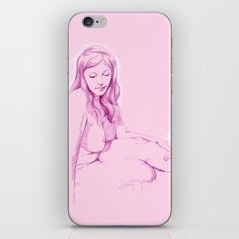 chica rosada pensando iPhone Skin