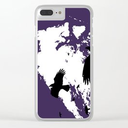 Odin Portrait and Silhouette of Ravens Vector Art Clear iPhone Case