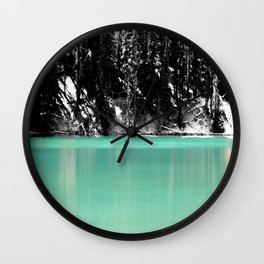 Green Water, Black and White Wall Clock