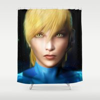 samus Shower Curtains featuring Samus Aran by Joe Roberts
