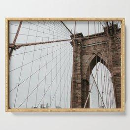 Brooklyn Bridge close up | Colourful Travel Photography | New York City, America (USA) Serving Tray
