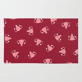 Crazy Happy Uterus in Red, Large Rug