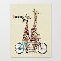 giraffe Canvas Prints featuring giraffe days lets tandem by bri.buckley