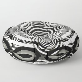 Black and White Party of Circles Floor Pillow