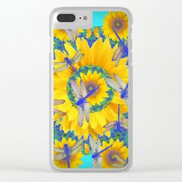 SHABBY CHIC BLUE DRAGONFLIES ON YELLOW SUNFLOWERS ART Clear iPhone Case