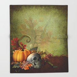 Halloween Skull Throw Blanket