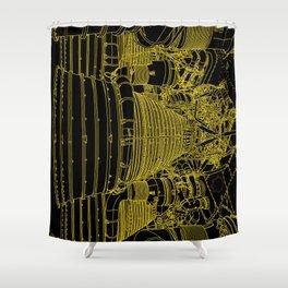 Apollo Rocket Booster - Yellow Neon Shower Curtain