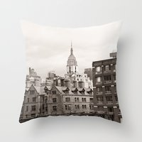 chelsea Throw Pillows featuring Chelsea Sights by Caroline Mint