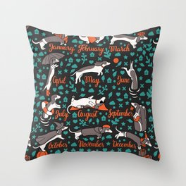 Dachshund year - lettering pattern Throw Pillow