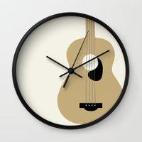 guitar Wall Clocks featuring GUITAR by Allyson Johnson