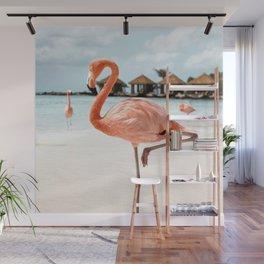 Pink Flamingo Beach Summer Photo | Aruba Tropical Island Art Print | Caribbean Travel Photography Wall Mural
