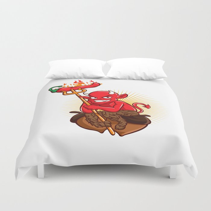 Devil with Hot Chili Pepper Cartoon Duvet Cover