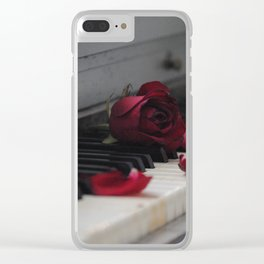 Piano with Red Rose Petals Clear iPhone Case