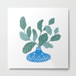 Cute fiddle fig leaf Metal Print