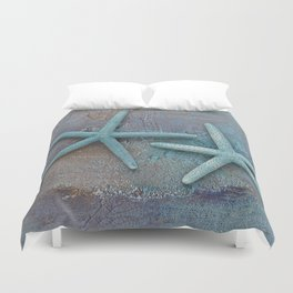 Turquoise Starfish on textured Background Duvet Cover