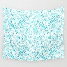 Mermaid Toile - Teal Wall Tapestry