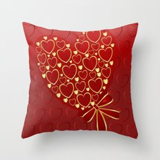 Gold hearts on rich red Throw Pillow