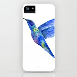 WATERCOLOR HUMMINGBIRD AND FLOWERS iPhone Case
