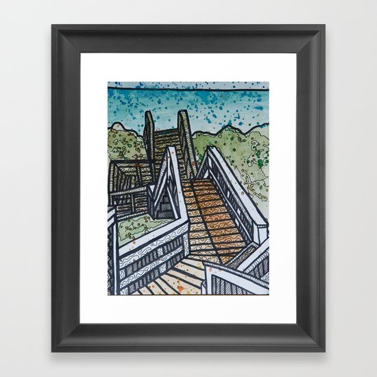 stairs at fort fisher Framed Art Print