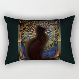 Celestial Sable - Black Cat And Night Magic Mandala Rectangular Pillow
