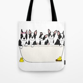 Boston Puppies in a Tub Tote Bag