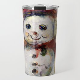 Snowman with Red Hat Travel Mug
