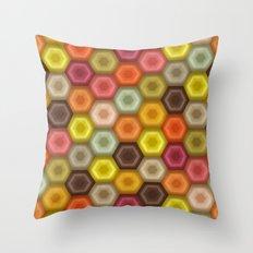 crochet honeycomb retro Throw Pillow