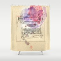 typewriter Shower Curtains featuring typewriter by Sabine Israel