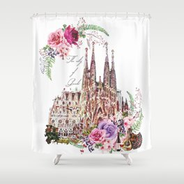 Barcelona Spain La Sagrada Familia Vintage Shower Curtain