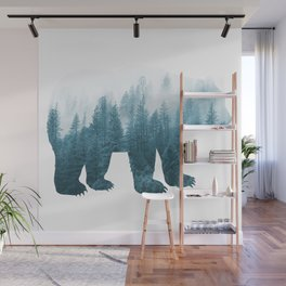 Misty Forest Bear - Turqoise Wall Mural