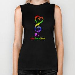 Love peace music hippie treble clef Biker Tank