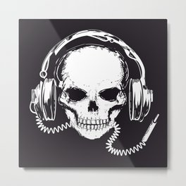 Skull with headphones Metal Print