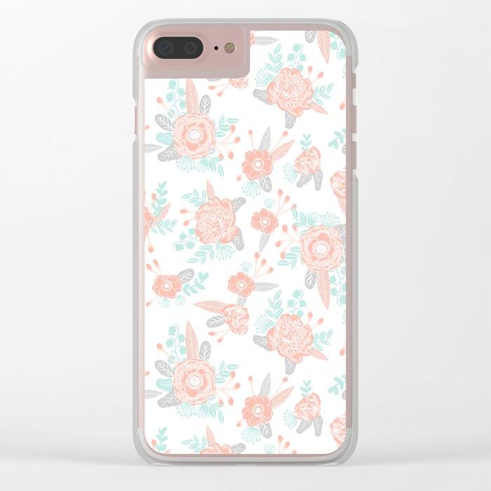 Floral bouquet pastel mint pink florals painted painted pattern basic minimal pattern print Clear iPhone Case